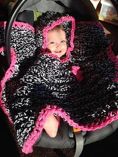 Car Seat Hooded Baby Blanket pattern by Semi Sweet Charm | Crochet