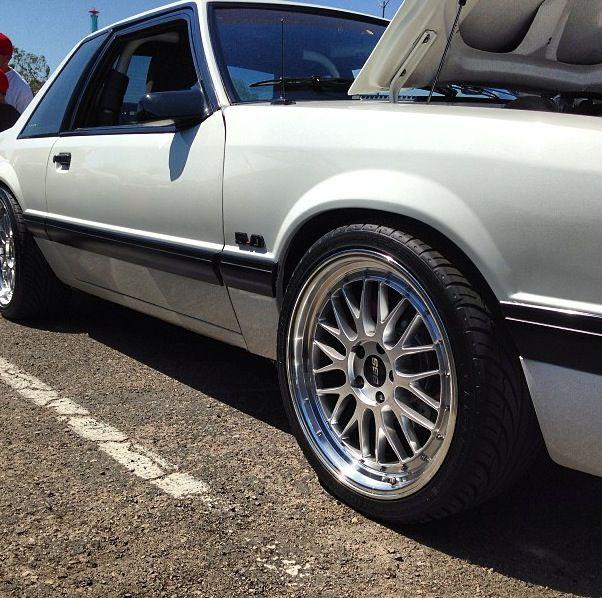 Bbs Wheels On A Foxbody Notch Mustang Love These Wheels Car Wheels Rims Car Wheels Car Wheels Diy