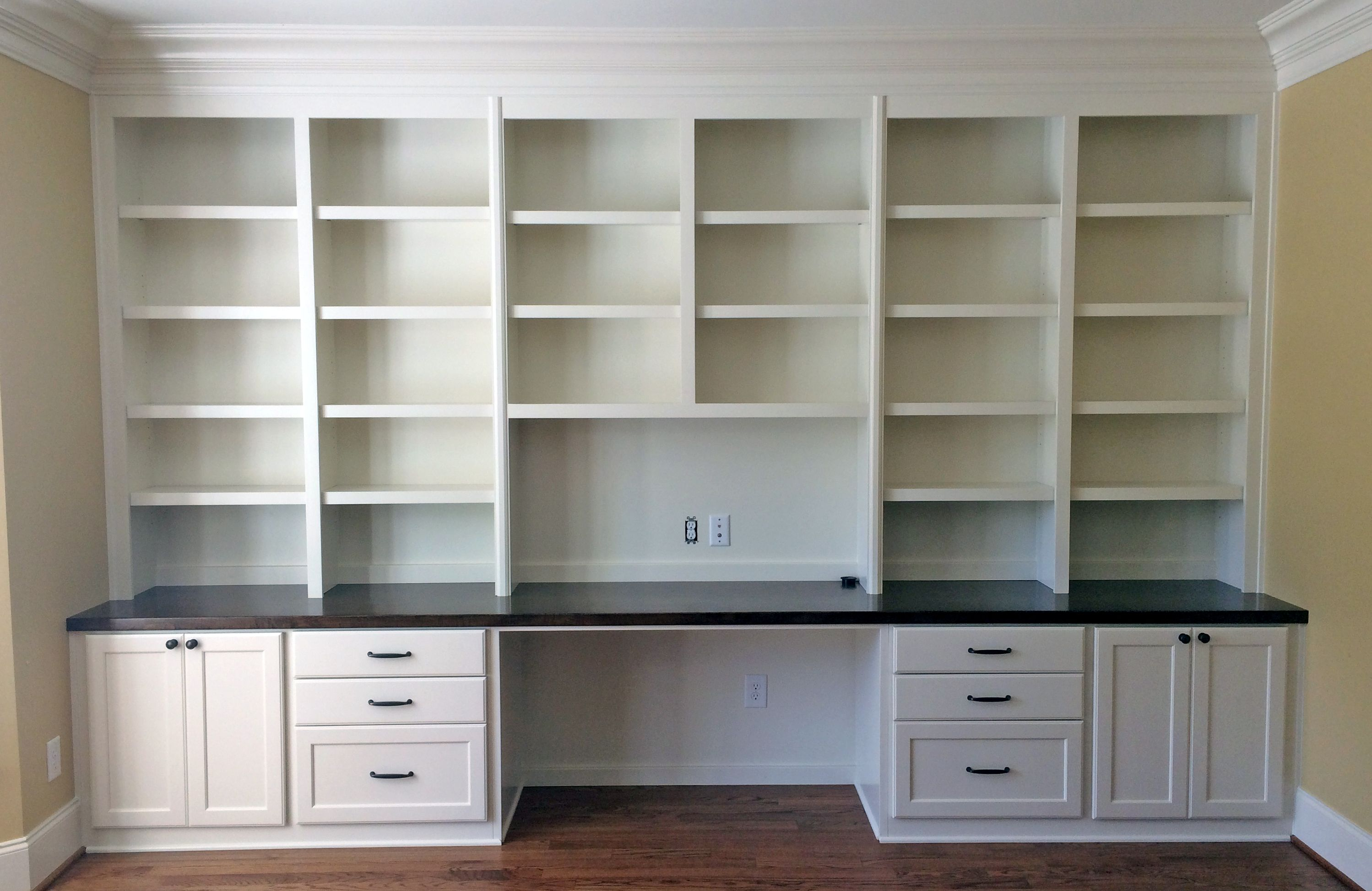 Custom built-in desk with shaker style doors and drawers ...