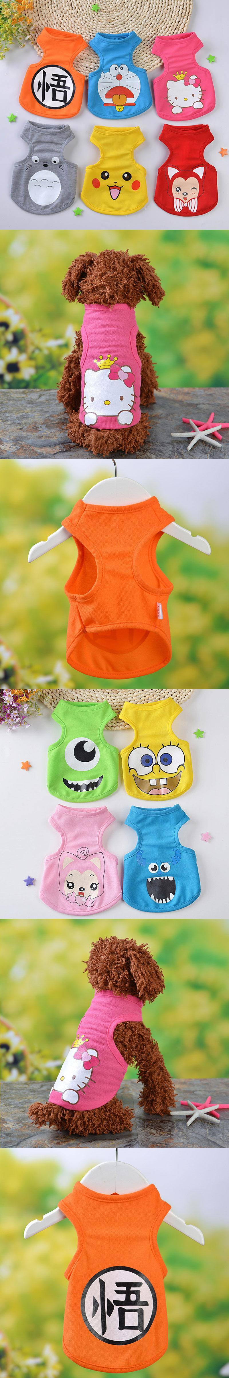 FopPet 2017 New Summer Cartoon Dog Pet Vest High Quality Cotton Clothes Cute  Dogs Vest Shirts