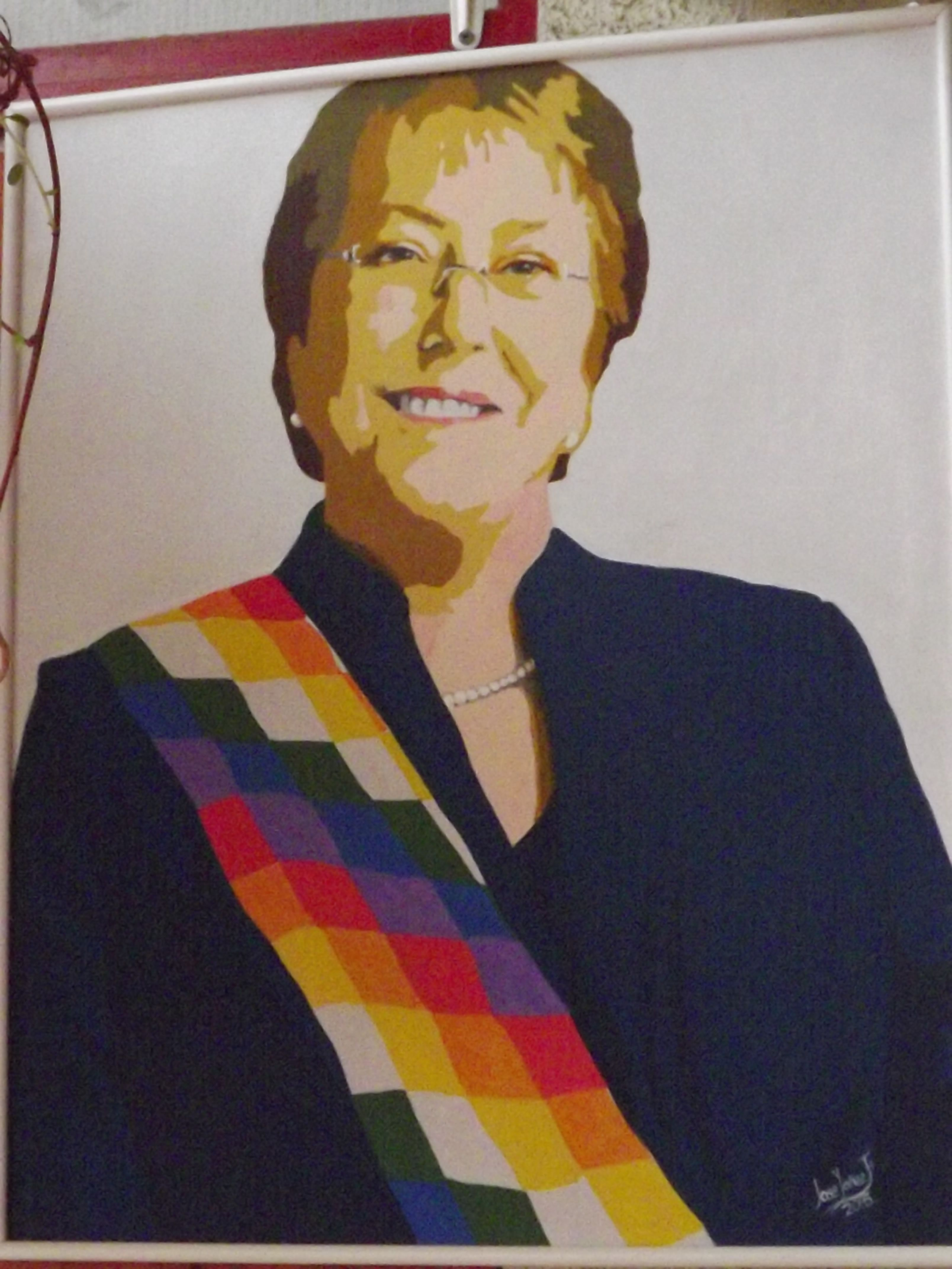 retrato pop art de la presidenta de chile, michelle bachelet
