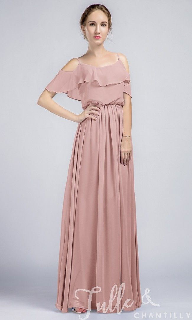 Long Ruffled Off Shoulder Passion Chiffon Bridesmaid Dress TBQP332