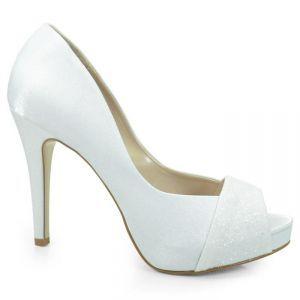 e2ee288ac Sapato de Noiva Peep Toe Laura Porto - Branco - ME854   Shoes, Shoes ...