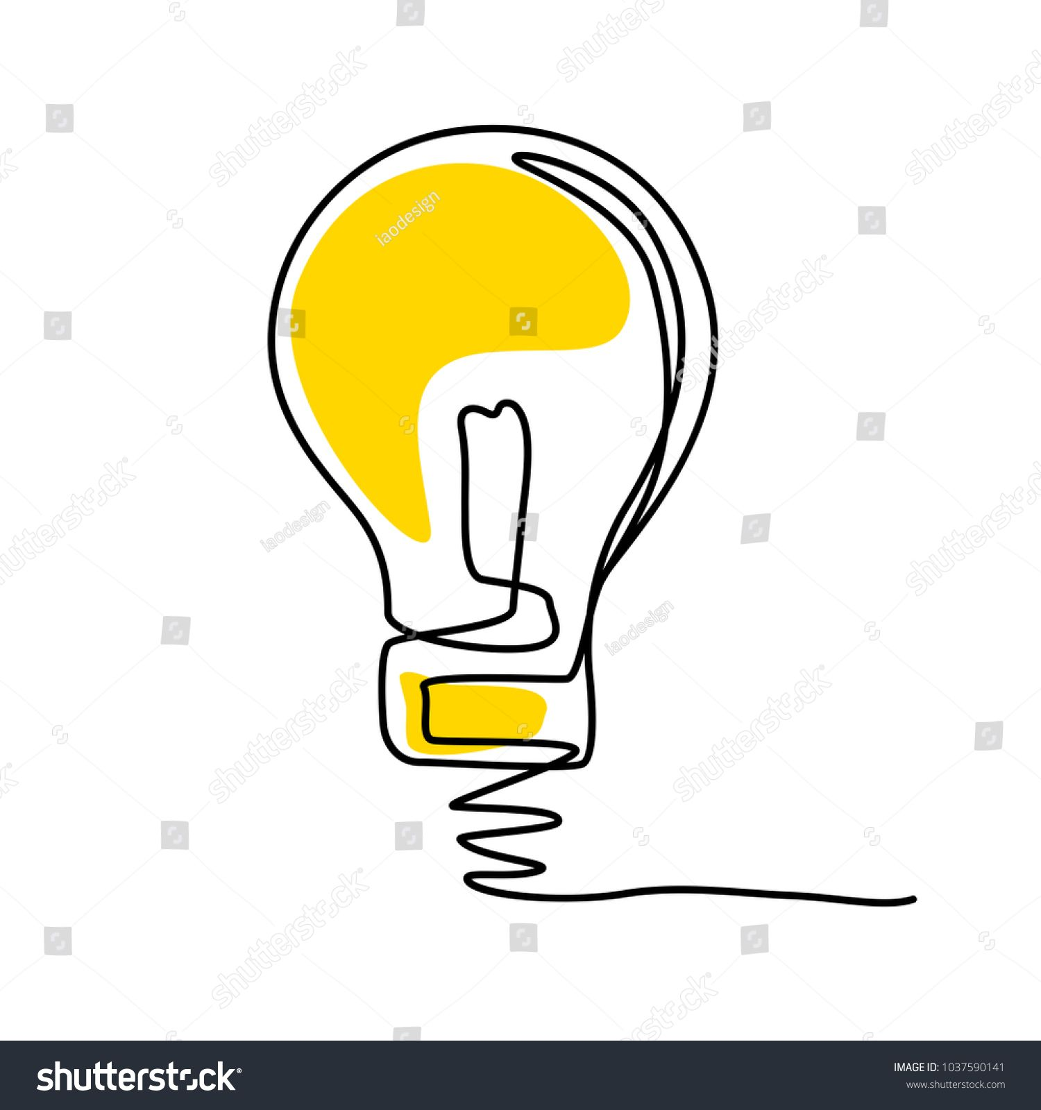 Concept Of Idea With Lightbulb Contour Drawing And Sketch Vector Illustration And Simple Design Ad Sp Contour Drawing Light Bulb Drawing Sketches Simple