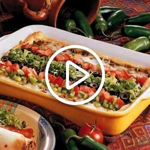 Bake - Uses crescent rolls, ground beef, refried beans, cheese, taco seasoning and toppings. dishBurrito Bake - Uses crescent rolls, ground beef, refried beans, cheese, taco seasoning and toppings. dish