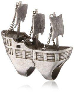 "nOir ""Pirates of the Caribbean"" Full Finger Pirate Ship Statement Ring.  xo X.O.!."