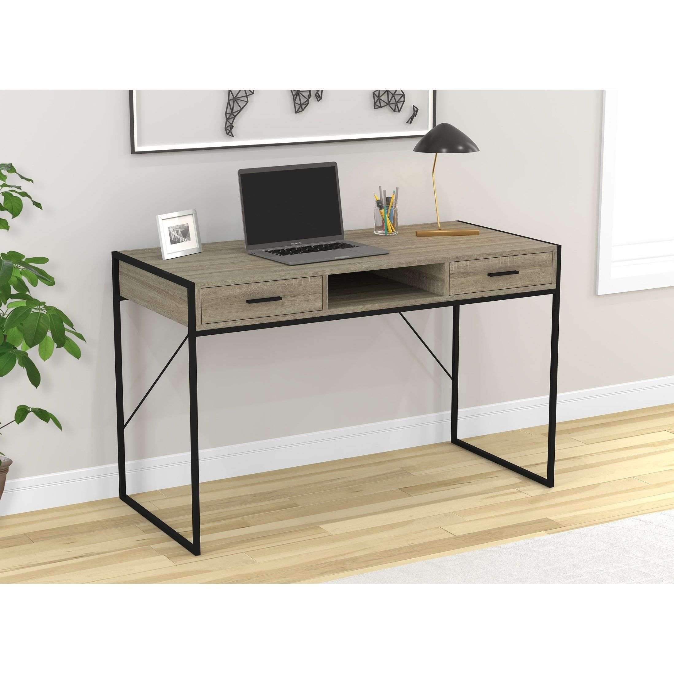 Safdie Co Grey Wood 48 Inch Writing Desk Computer Table Gaming Office Desk Assembly Required Grey Computer Wood And Metal Desk Metal Desks Office Desk