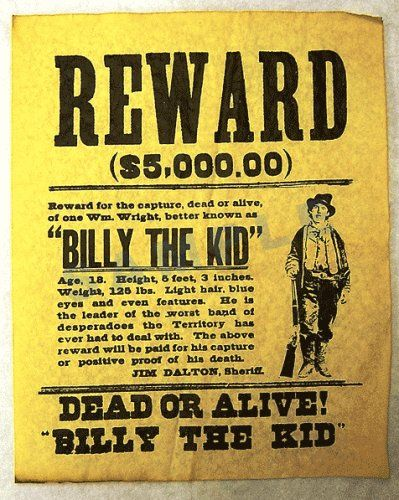 Wanted Poster for Billy the Kid Historical Documents http://www ...