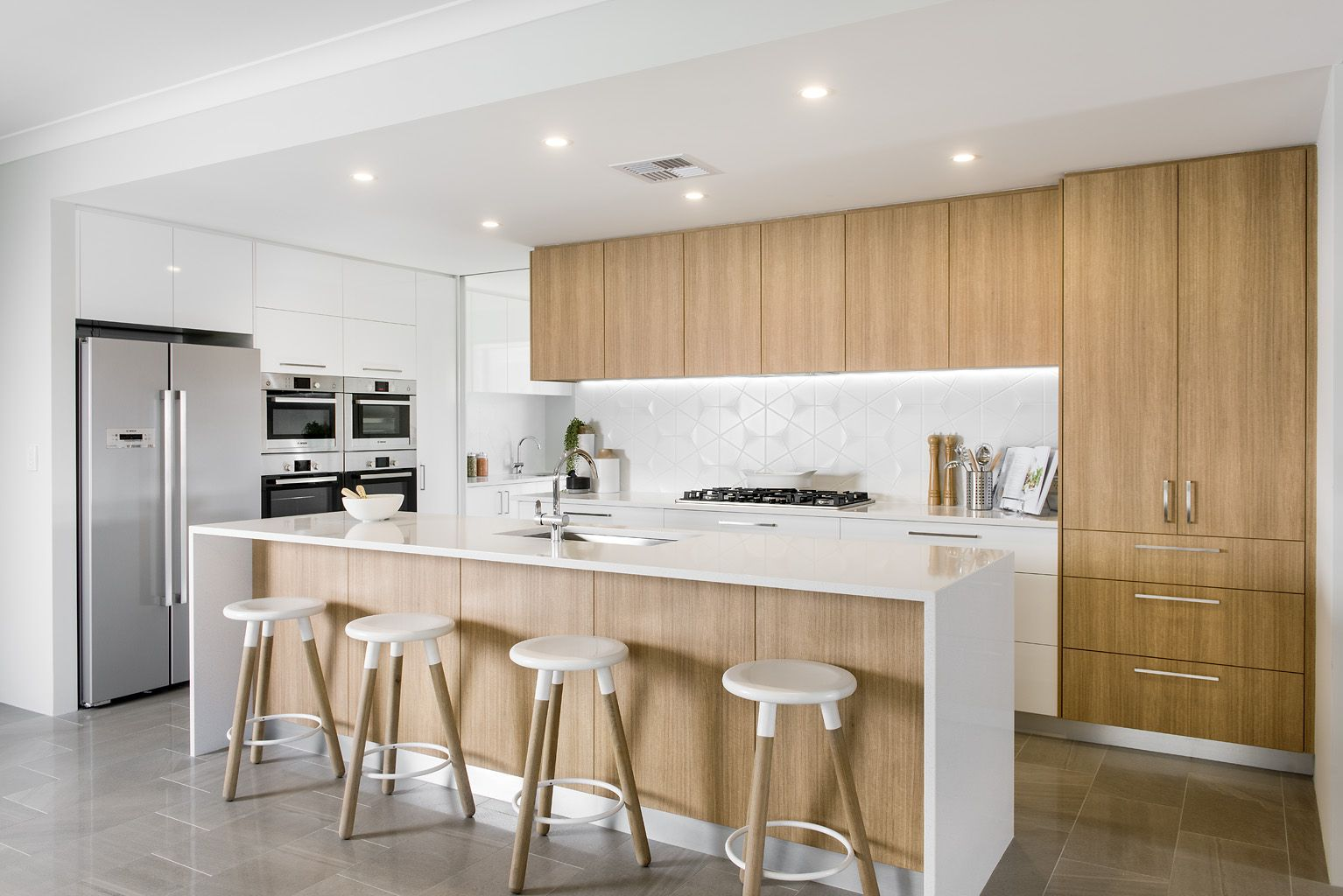 Lauren Steadman Homes \'My Place\' Kitchen with stone bench tops ...