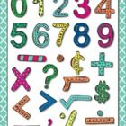 Numbers and Math Symbols Bright Colorful Hand Drawn Digital Clip Art