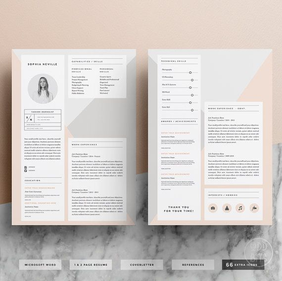 Modern Resume Template for Word 1  2 Page CV by OddBitsStudio