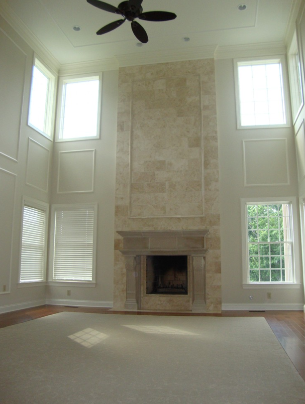 Two Story Great Room Custom Kitchen Bathroom Remodeling Serving Montgomery County Main Lin Brick Fireplace Makeover Traditional Family Rooms Great Rooms