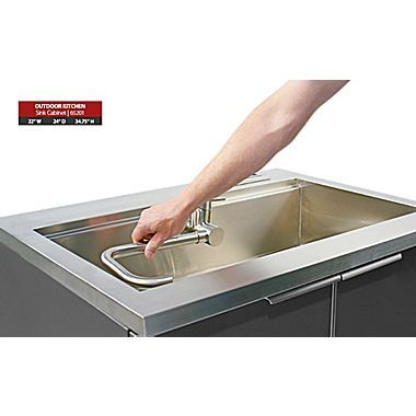 Newage Products Outdoor Kitchen Sink Cabinet Aluminum Slate 32 W X 24 D 65201 Outdoor Kitchen Sink Sink Cabinet Newage Products