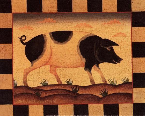 Farm Pig   American Folk Art Painting - Diane Ulmer Pedersen