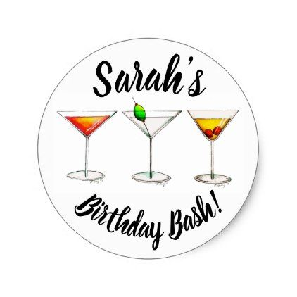 Personalized 21st birthday bash party cocktails classic round sticker birthday gifts party celebration custom gift
