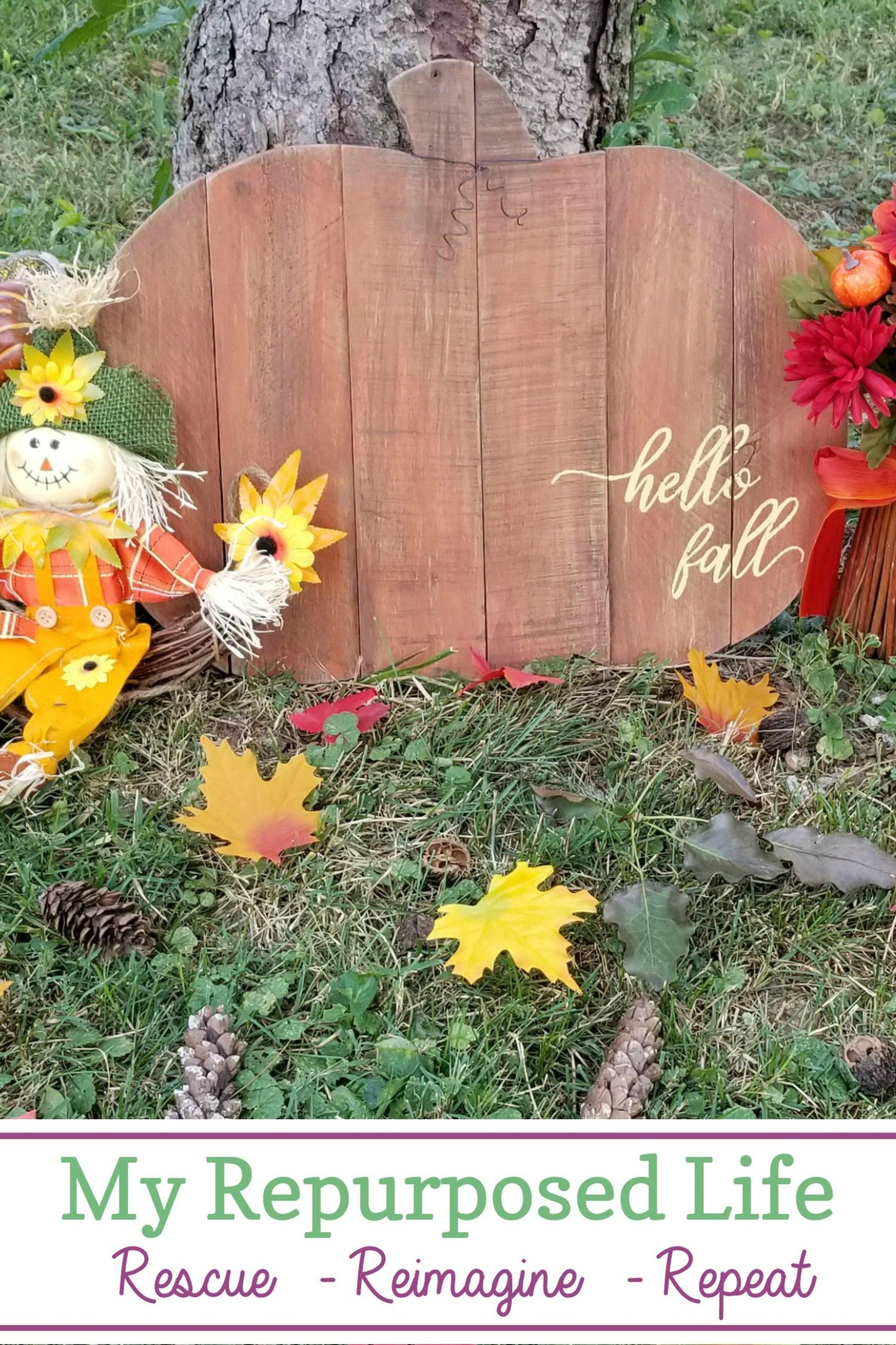 Hello Fall Rustic Pumpkin Sign Hello Fall Rustic Pumpkin Sign made from pallet boards!