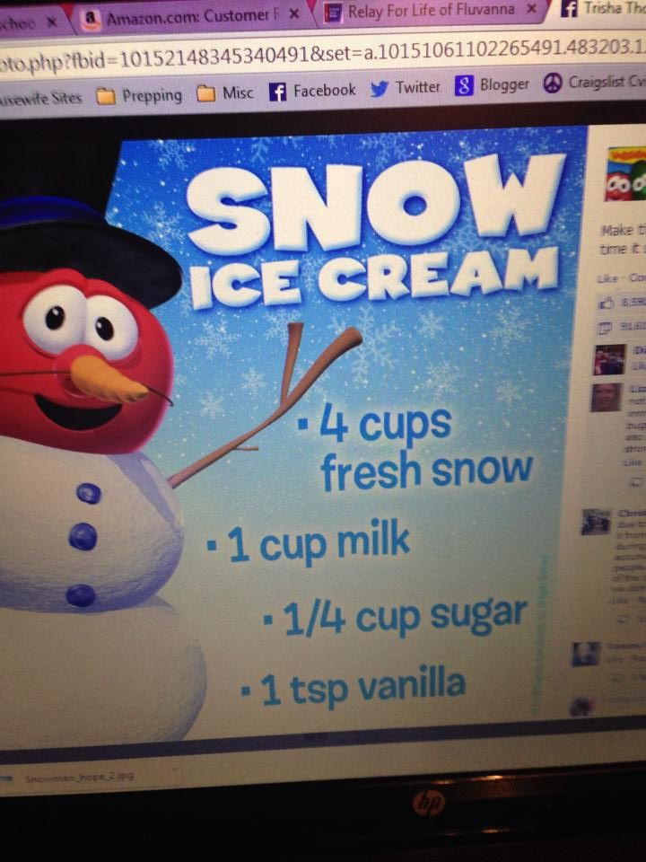 Snow Ice Cream: Mix it all together and chow down. It will have a crunchy texture.