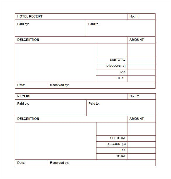 Hotel List Template Word , Receipt Template Doc for Word Documents - printable cash receipt