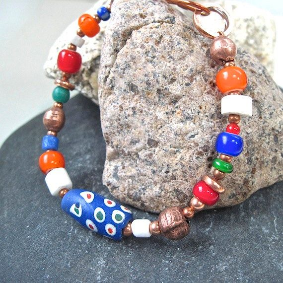 Colorful Bracelet African Trade Beads Boho Bohemian Ethnic Style by RoughMagicCreations.......LOVE THE ROCK DISPLAY