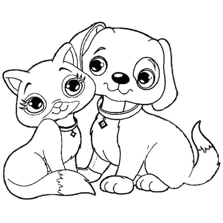 Dog And Cat Coloring Pages Puppy Coloring Pages Cat Coloring Page Dog Coloring Page