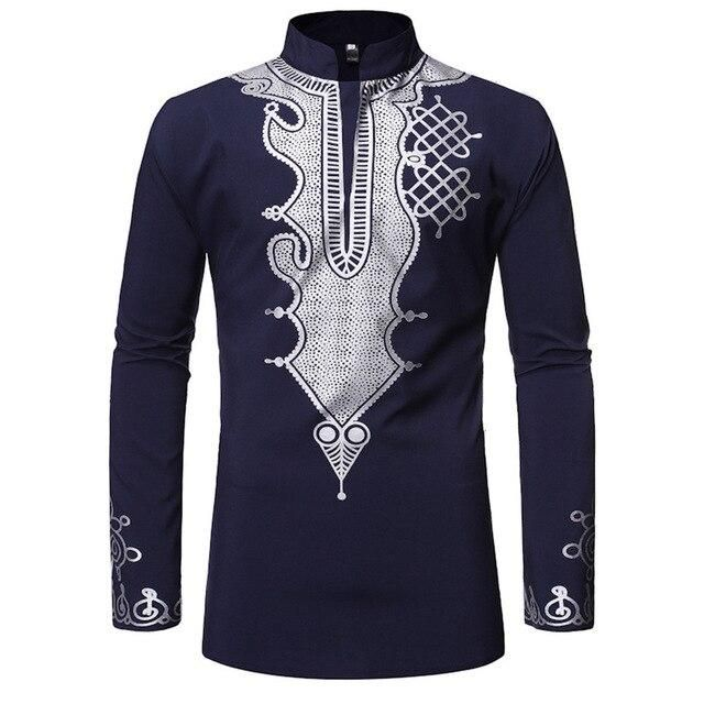 African Style Men's Shirt African Clothing Stand Collar Long Sleeve T Shirt Men African Dashiki Traditional Maxi Man Shirt Tops #africanstyleclothing