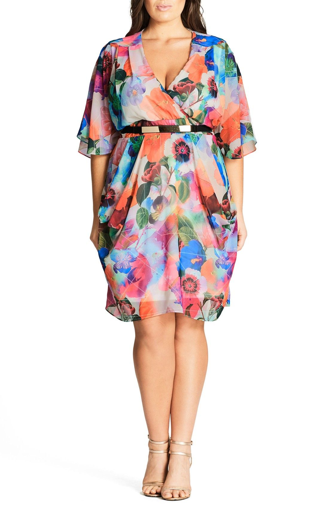 b33bfe1a7c5 Free shipping and returns on City Chic Floral Print Faux Wrap Dress (Plus  Size) at Nordstrom.com. Bring a welcome pop of color to spring with this ...