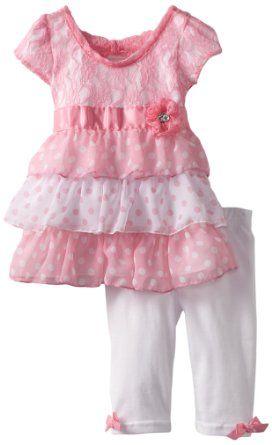 3777fce24e776 Baby girl clothes#Little Lass Baby-Girls Infant 2 Piece Capri Set with  Flower Detail
