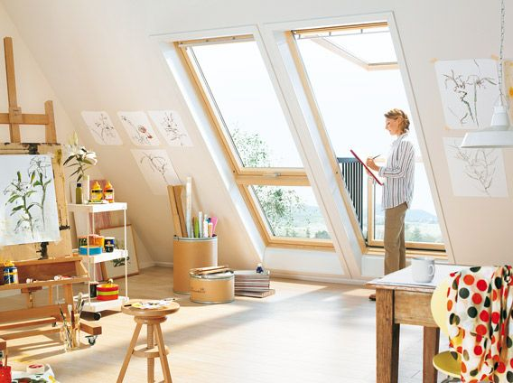 hobbyraum mit velux systeml sung open air bestehend aus cabrio klapp schwing fenster gpl aus. Black Bedroom Furniture Sets. Home Design Ideas