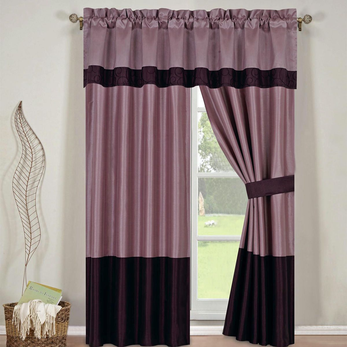 With Home Decor - Wendy Purple Curtains 2 x Panels 42x84