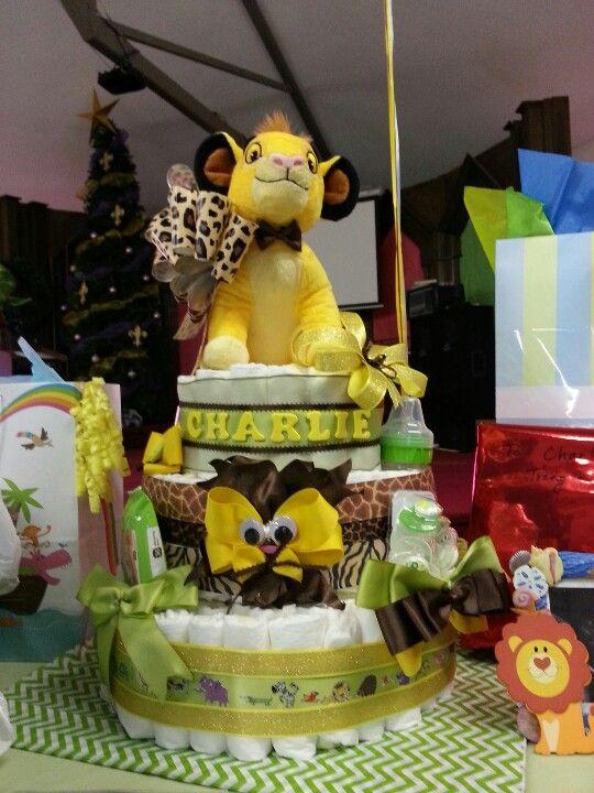 Lion king diaper cake   Charlie's baby shower   Pinterest ...