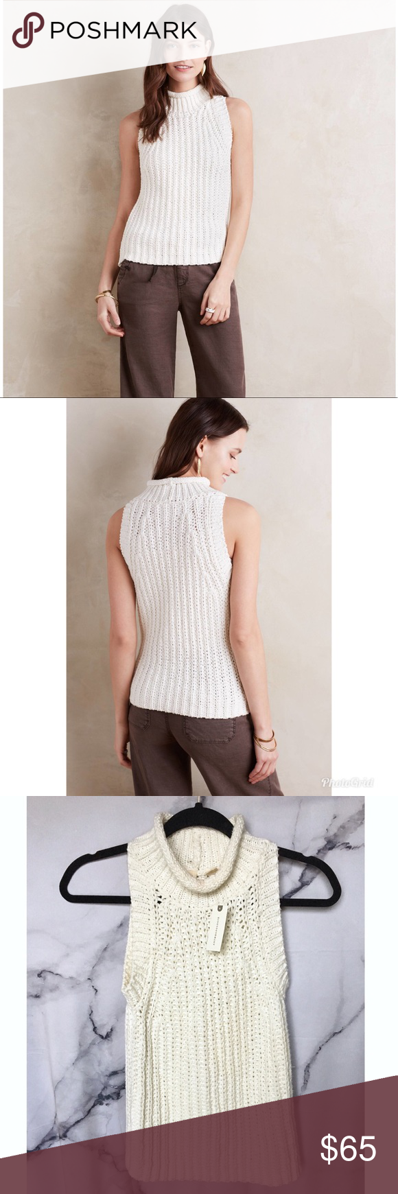 c0ddfa5c44 Anthropologie Moth Roll Neck Knit Tank Beautiful new Anthropologie sweater  with tags. Cotton/linen blend. Open to offers! Anthropologie Tops Tank Tops