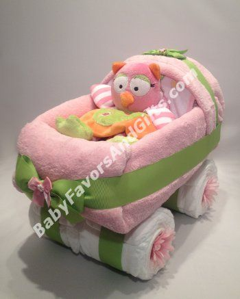 Pink and Green Baby Carriage Diaper Cake - 9990299 - Baby Girl - Diaper Cakes
