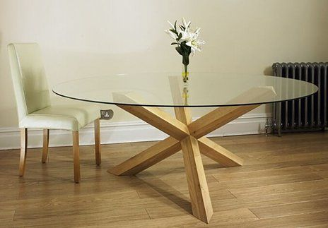 Havana Glass Round Dining Table On Solid Oak Pedestal Four Sizes