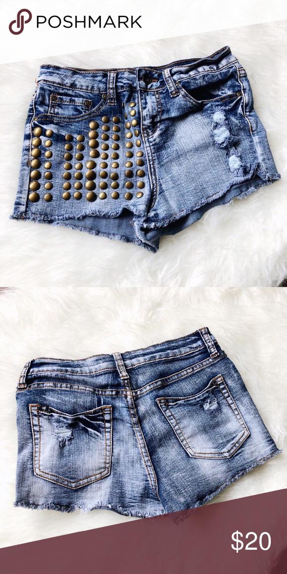 Lovesick Gold Studded Distressed Denim Shorts