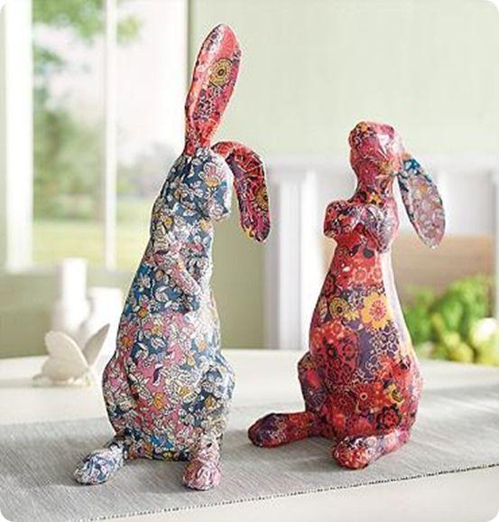 Decoupage Bunny from a Soda Bottle
