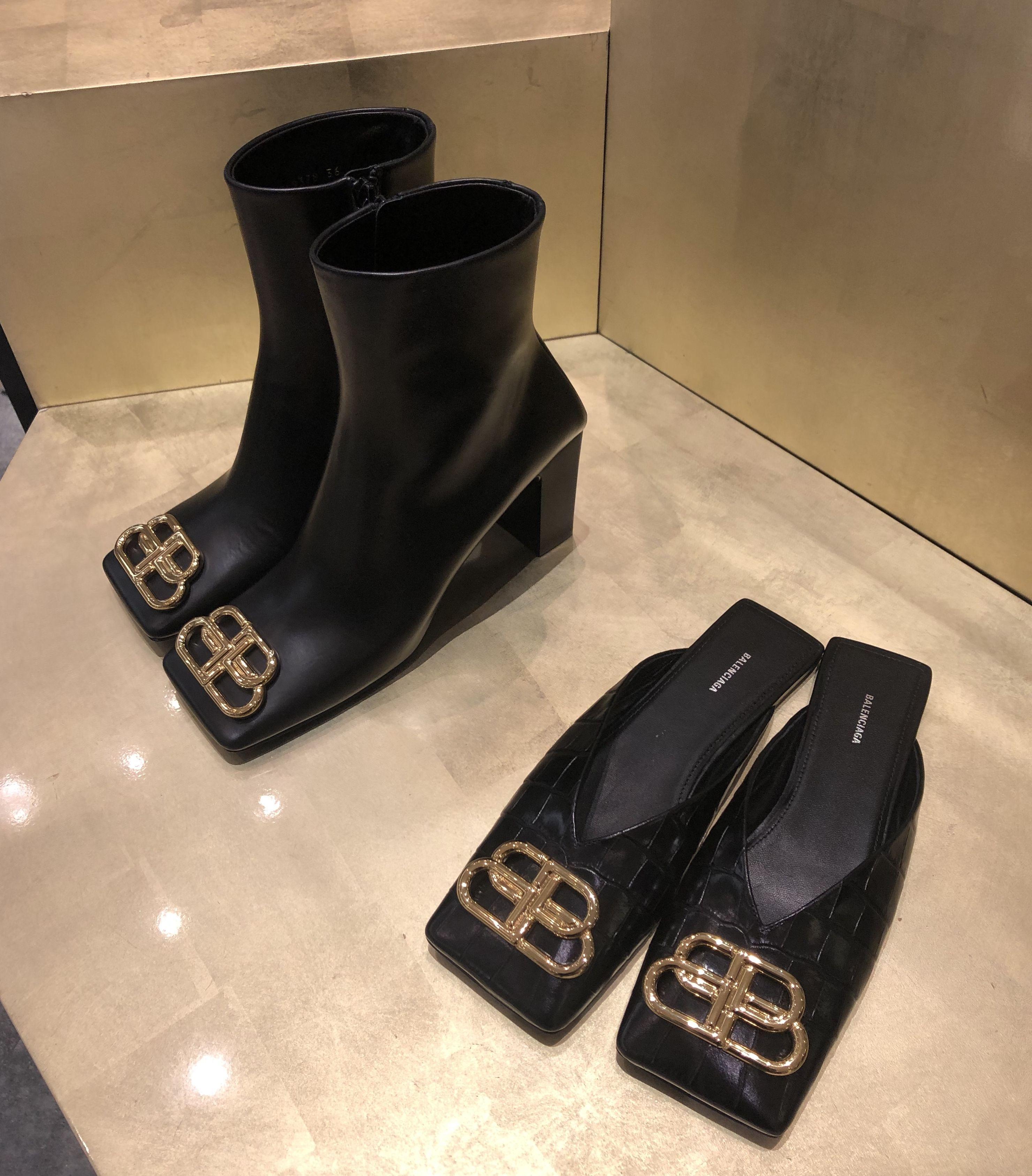 Balenciaga square-toe black ankle boots