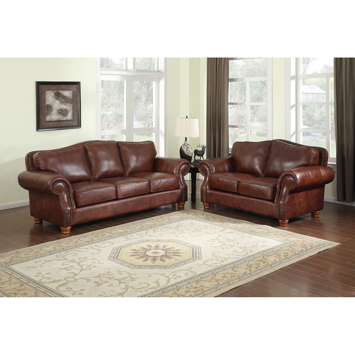 brandon distressed whiskey italian leather sofa and loveseat brown