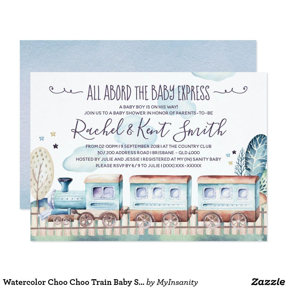 Choo Train Baby Shower Invitation