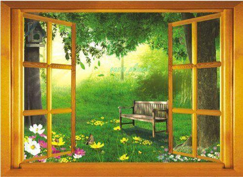 Large 3D Garden View Window Film Wall Stickers Art Mural Wallpaper Nursery  By Walplus, Http