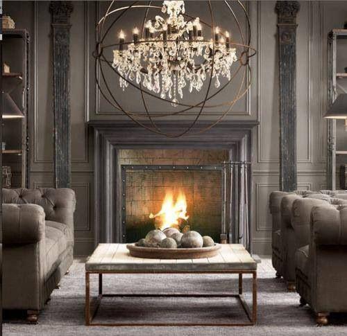 The Gorgeous Restoration Hardware Fireplace Mantle Globe Chandelier To Boot Insane House Interior Steampunk Interior Home Decor