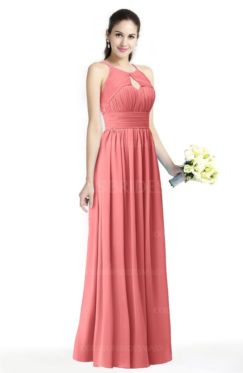 384a9c988d Coral Traditional A-line Jewel Sleeveless Zipper Sash Bridesmaid Dresses at  a discount price on colorsbridesmaid.com. The Chiffon with Floor Length  delicate ...