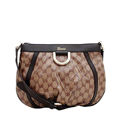 b6e6493aad8 Gucci CrossBody Beige ebony GG Crystal Canvas D-ring Tan brown Cross Body  Shoulder Bag
