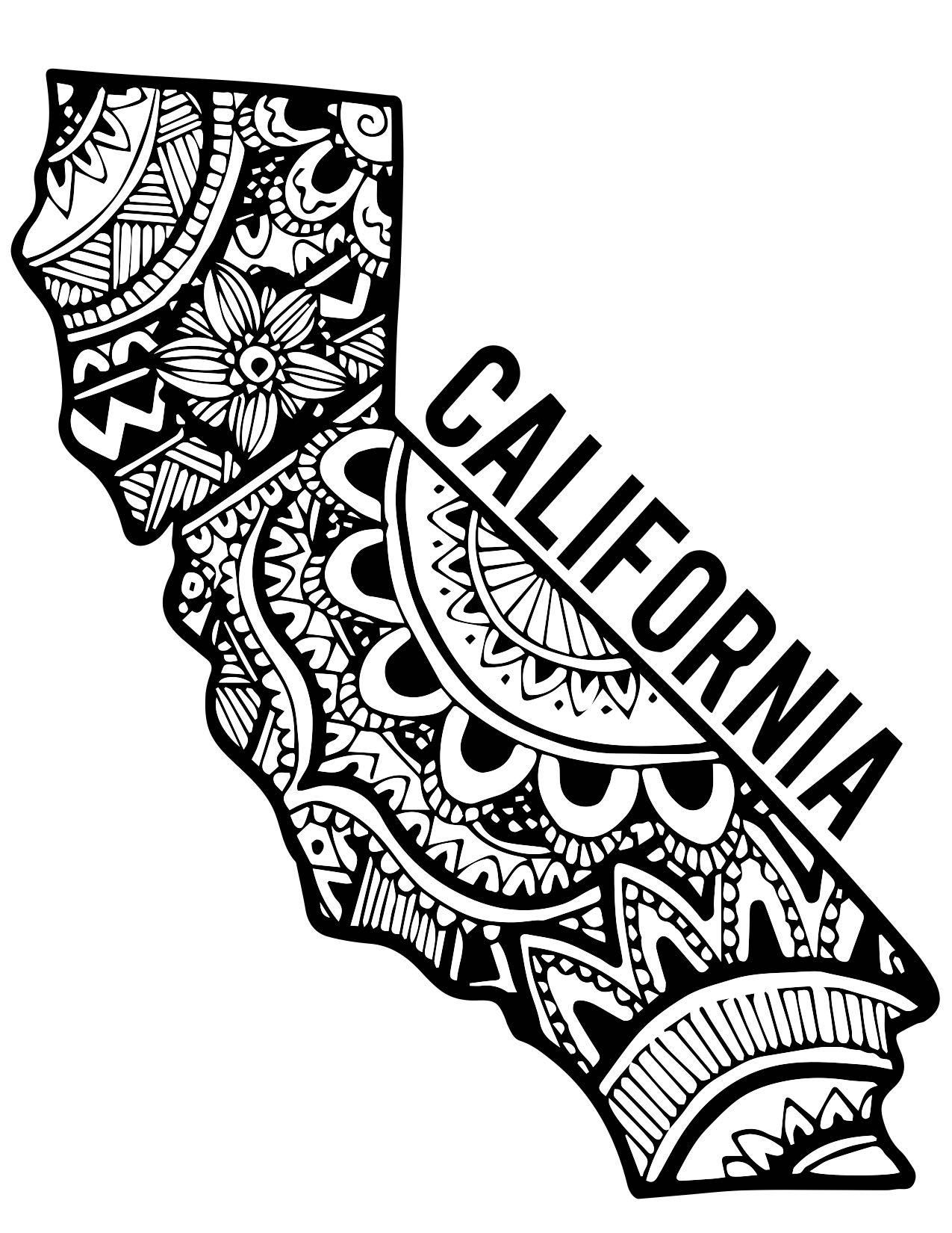 california zentangle sticker by emily hoehenrieder zentangle tattoo and piercings. Black Bedroom Furniture Sets. Home Design Ideas