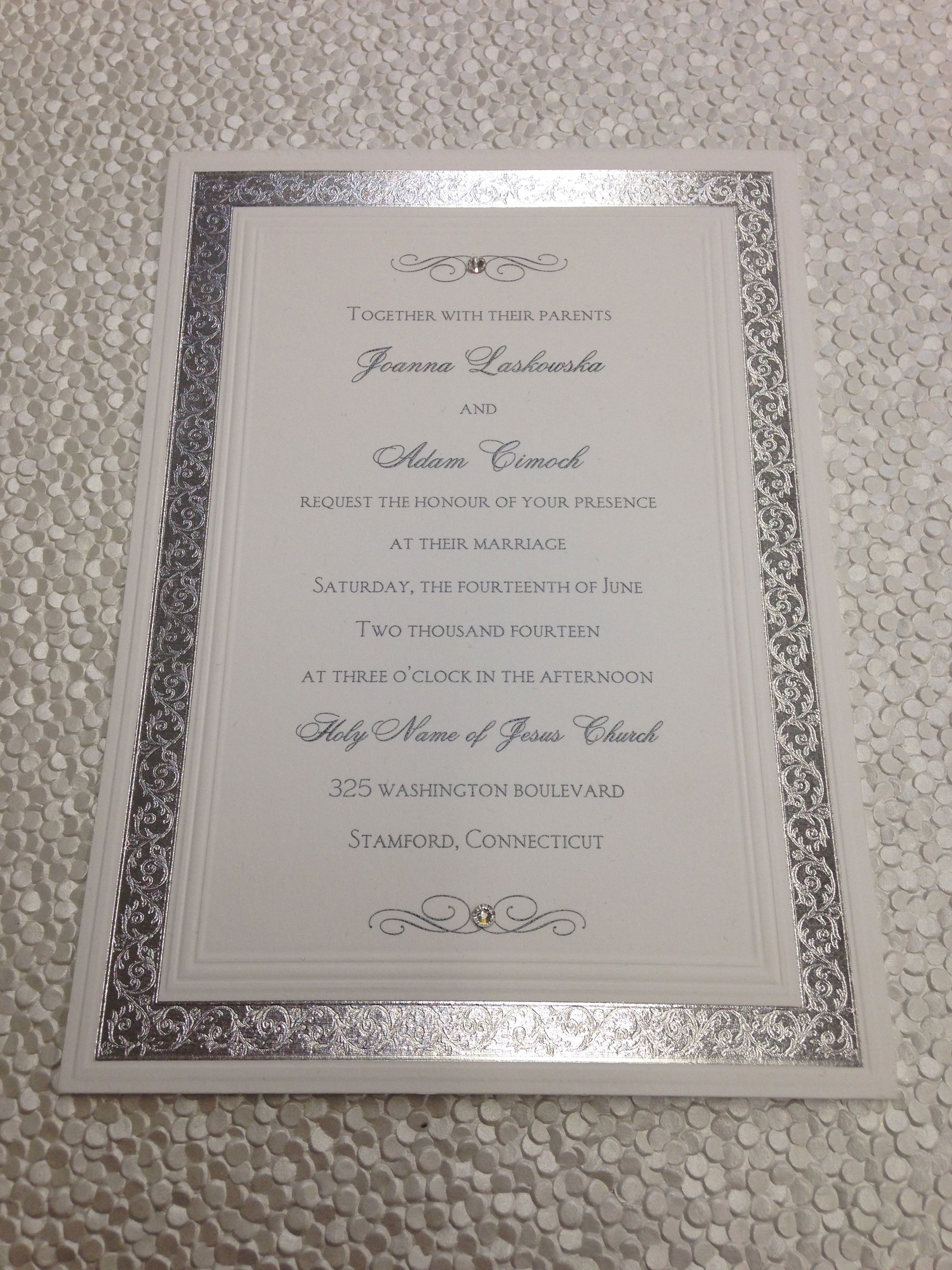 simple and inexpensive invitation with rhinestone accent on top and