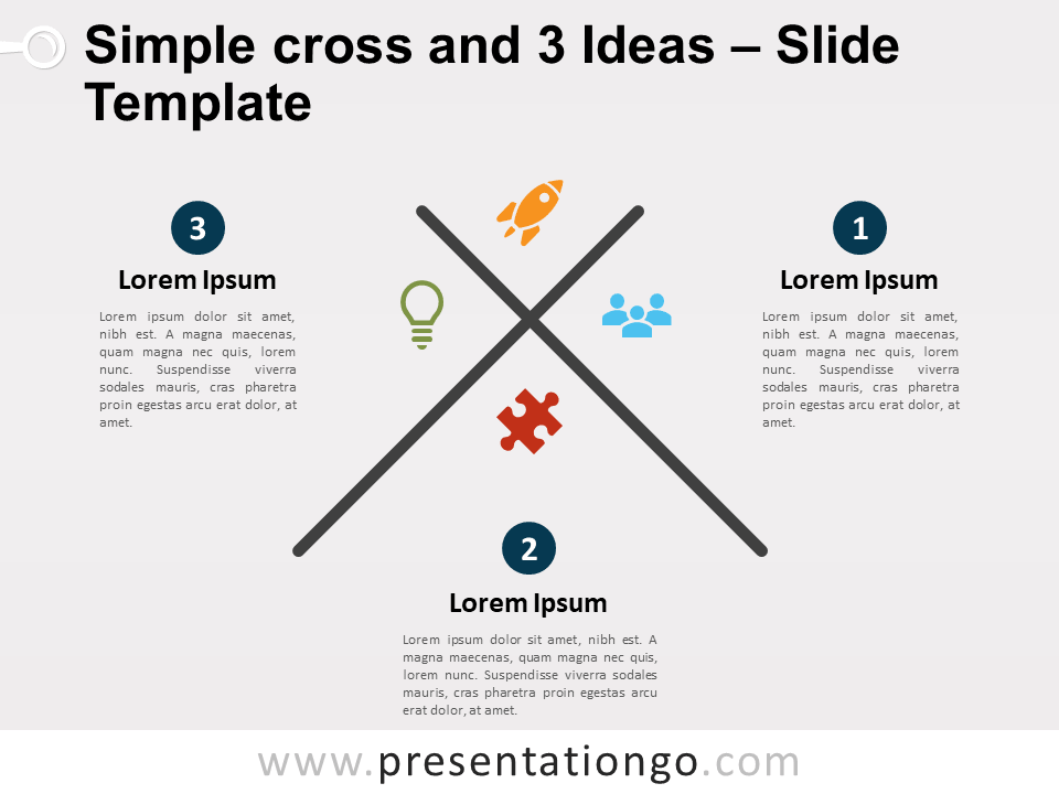 Simple Cross with 3 Ideas for PowerPoint and Google Slides