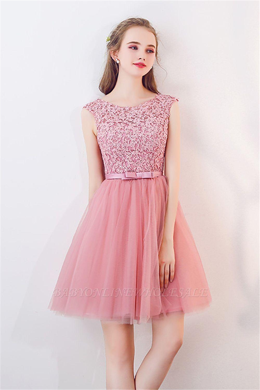 2019 的 Tulle Short Sleeveless Lace Bowknot Cheap Pink Homecoming ... 655c29320f10