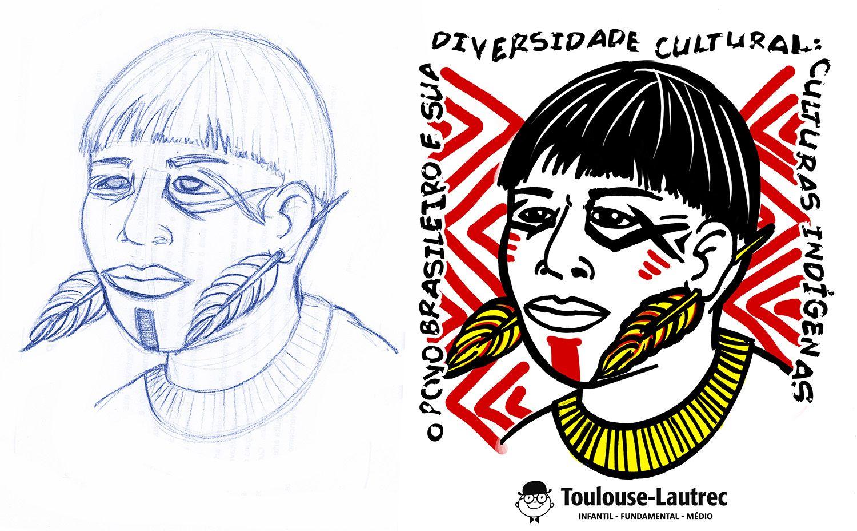 Projeto Diversidade Cultural. Grafite azul sobre papel Sequencia de coloração Photoshop.