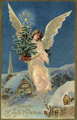 Gorgeous English Victorian Style Christmas Yule Card,Noel Angel