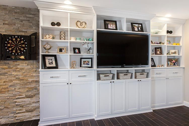 Media Center And Entertainment System Wall Unit With Crown Base Moulding In White