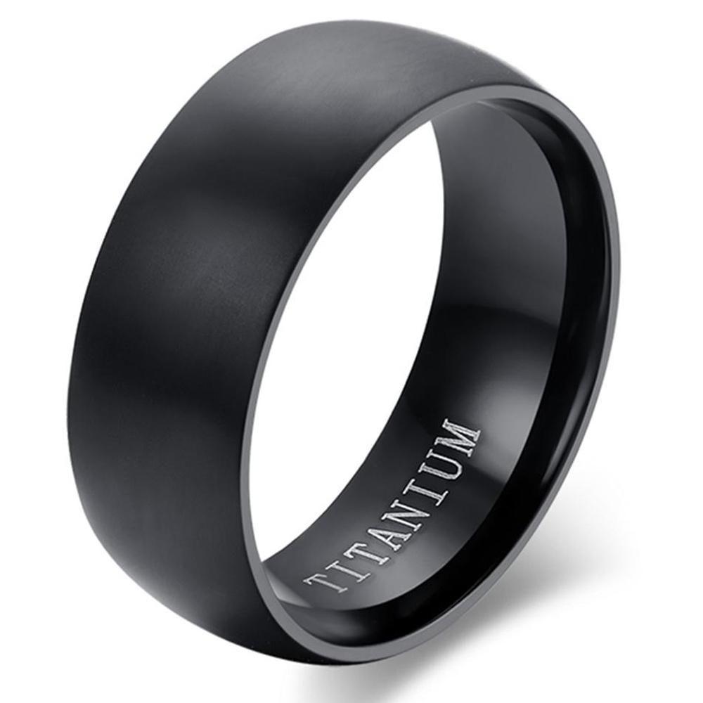 Classic Black Titanium Matte Finished Ring Wedding Rings Vintage